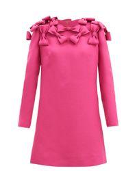 Valentino リボン バージンウールシルク キャディミニドレス Pink