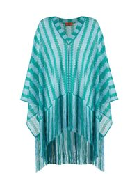 Missoni Blue Striped Lace Knit Poncho With Fringe