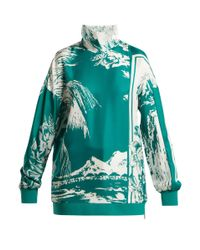 Tibi Multicolor Leilani Printed Funnel-neck Silk Sweatshirt