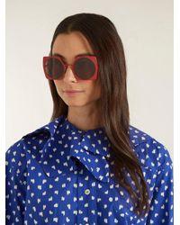 Marni Red Pentagon Cut-out Circle Sunglasses
