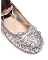 Miu Miu - Metallic Glitter Block-heel Ballet Pumps - Lyst