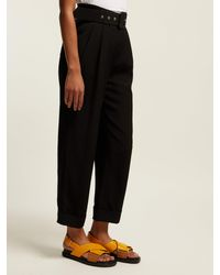 Isa Arfen Black High Rise Cropped Trousers
