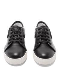 Bottega Veneta Black Dodger Lace Up Leather Trainers for men