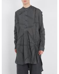 By Walid Gray Long-line Patchwork Cotton Shirt for men