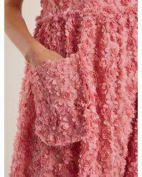 Shrimps Pink Iris Floral-embroidered Organza Dress