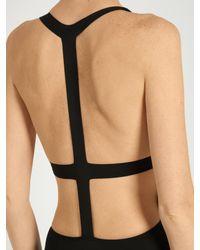 Ephemera Black Bonded T-back Swimsuit