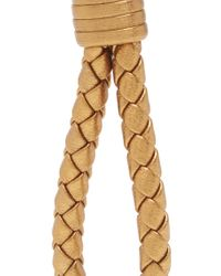 Bottega Veneta - Metallic Intrecciato Leather Knot Key Ring - Lyst