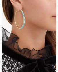 Irene Neuwirth Blue 18kt Gold & Turquoise Hoop Earrings