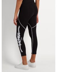 Fendi - Black Side-logo Performance Leggings - Lyst