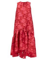 Erdem ウィンスロー フローラルオーガンザドレス Red
