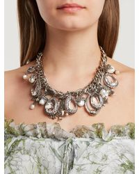 Alexander McQueen - Metallic Crystal-embellished Charm Necklace - Lyst