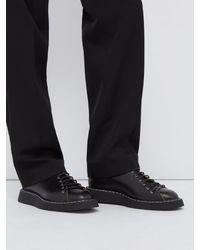 Jil Sander Black Topstitched Leather Derby Shoes for men
