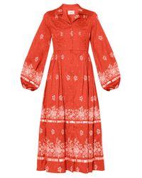 Erdem ブロデリック フローラルクレープドレス Red