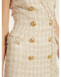 Robe courte en tweed à bords effrangés Balmain en coloris Natural