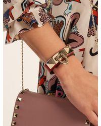 Valentino - Red Rockstud Leather Bracelet - Lyst
