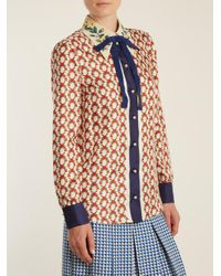 Gucci Multicolor Guns-print Bow-embellished Silk-twill Blouse