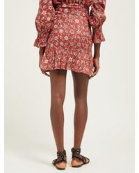 Étoile Isabel Marant Red Tempster Floral-print Cotton Wrap Skirt