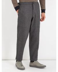 Oliver Spencer Gray Judo Tapered-leg Cropped Wool Trousers for men