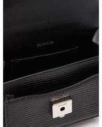 Balenciaga シャープ Xs リザードパターンレザーバッグ Black