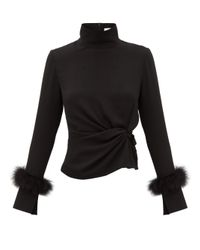 16Arlington Black Yuki Feather-trimmed High-neck Crepe Top