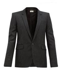 メンズ Saint Laurent メタリックピンストライプ ウールジャケット Black