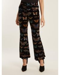 Gucci Black Butterfly-print Stretch-cotton Velvet Trousers
