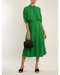 Emilia Wickstead Green Moya Band-collar Pleated Twill Dress