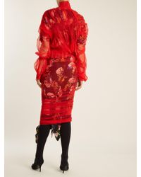Preen By Thornton Bregazzi Lucille Floral-print Layered Tulle And Silk Dress
