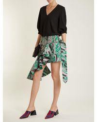Marques'Almeida Green Asymmetric Lava-jacquard Mini Skirt