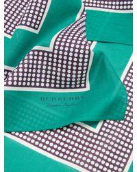 Burberry Green Polka-dot Print Cotton Scarf for men