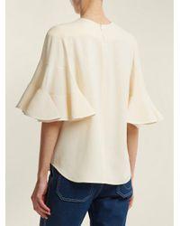 Chloé White Bell-sleeve Light Cady Crepe Blouse