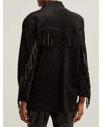 Veste en daim à franges Nili Lotan en coloris Black