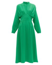 Emilia Wickstead Green Autumn Pleated High-neck Crepe Midi Dress