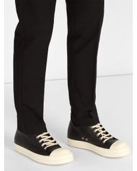 Rick Owens Black Geobasket Low Top Leather Trainers for men