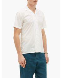 メンズ Orlebar Brown トラビス コットンポプリン ボウリングシャツ White