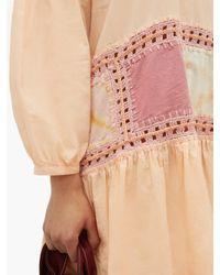 Robe courte en voile à bords au crochet Olga STORY mfg. en coloris Pink