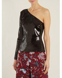 Diane von Furstenberg Black One-shoulder Sequin-emebllished Top