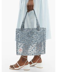 Shrimps Blue Bay Embroidered Pvc Tote Bag