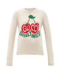 Gucci チェリー インターシャ ウールセーター Multicolor