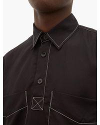 メンズ Schnayderman's コントラストステッチ ポプリンシャツ Black