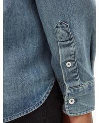 メンズ Belstaff ピッチ スラントポケット コットンデニムシャツ Blue