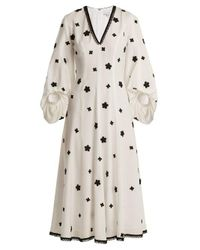 Andrew Gn Natural Floral-embroidered Puff-sleeved Silk Midi Dress