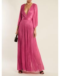 Maria Lucia Hohan Pink Lur Deep V Neck Silk Tulle Gown