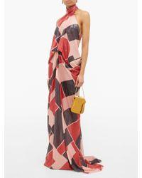 Robe de soirée dos-nu à sequins géométriques Halpern en coloris Red