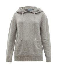 Prada Gray Logo-embroidered Cashmere Hooded Sweater