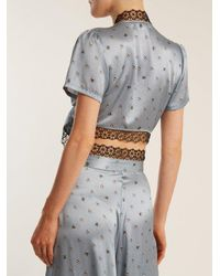 Morgan Lane Blue Roxy Daisy-print Silk Pyjama Top