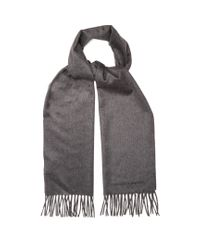 Alexander McQueen - Gray Logo-embroidered Cashmere Scarf for Men - Lyst
