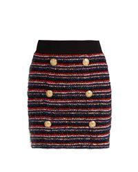 Balmain Black Bouclé-tweed Mini Skirt