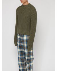 Jil Sander Green Raw Cuff Cotton Knit Sweater for men