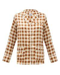Ganni ギンガム シルクブレンドサテンシャツ Multicolor